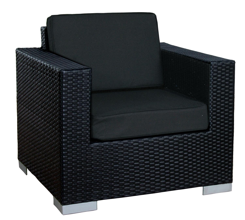Loungestoel cuenca zwart plat wicker incl zwarte kussens for Plat kussen